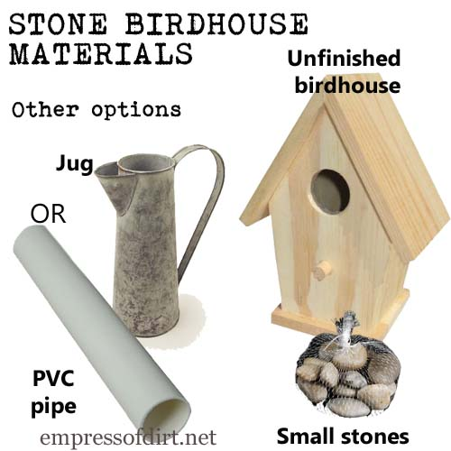 You could also make a stone birdhouse using a piece of wide PVC pipe or a jug as the base. Use what you have and make it unique! See my blog for a full material list, instructions, and more ideas.