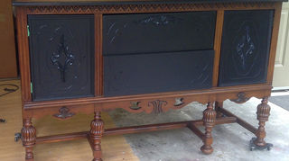 q what do you suggest for this antique sideboard, painted furniture, repurposing upcycling, In the finishing phases
