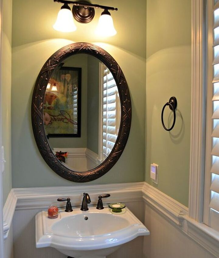 Half Bath with new paint color and beadboard wallpaper