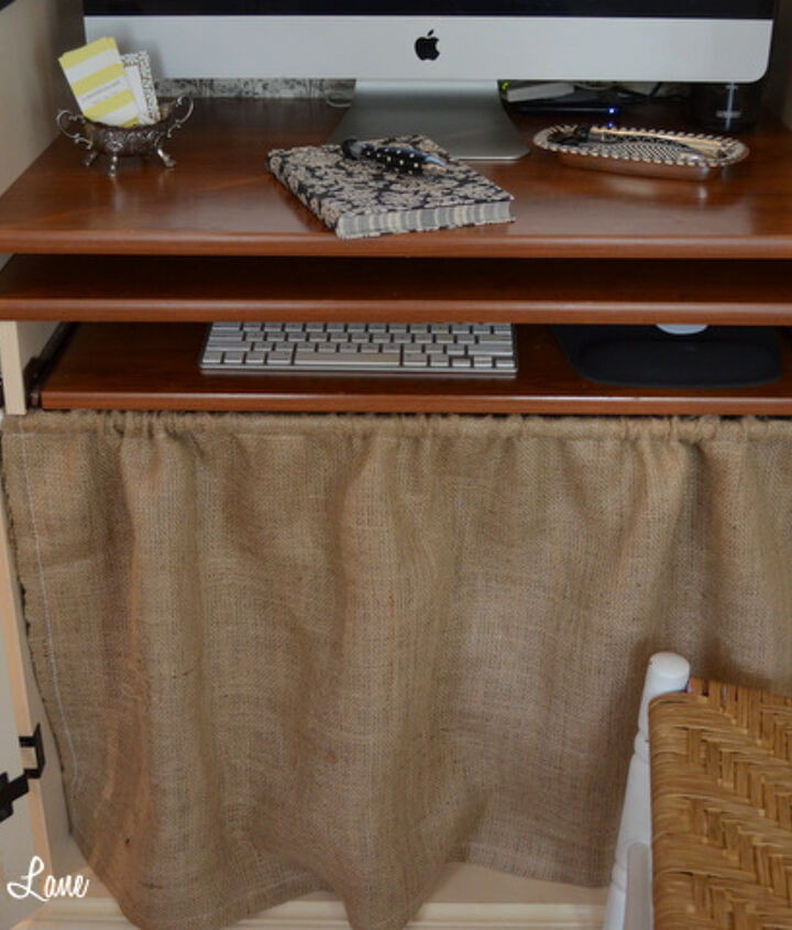 I sewed an easy burlap skirt to cover up the printer and some other not-so-nice looking clutter.