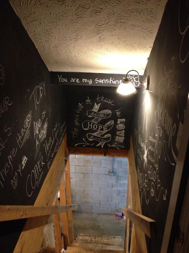 chalkboard paint in the stairwell, chalk paint, chalkboard paint, paint colors, painting, wall decor