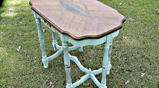 q advice on refinished inlaid wood tables, painted furniture, A better view of the CeCe Caldwell Chalk Paint This paint is VOC freed non toxic The base is lightly washed in the chalk paint I wanted the wood to show through in places