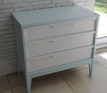 painted midcentury cabinet robin s egg blue and white, painted furniture, And after