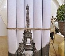 my linen and burlap eiffel tower pillow with free graphic, crafts, home decor, A link to instructions for this book bundle can be found on the post