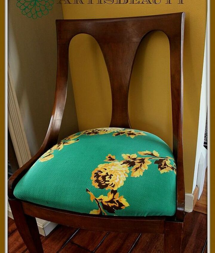 kindel chair makeover using a vintage tablecloth and a sweet story, painted furniture, reupholster
