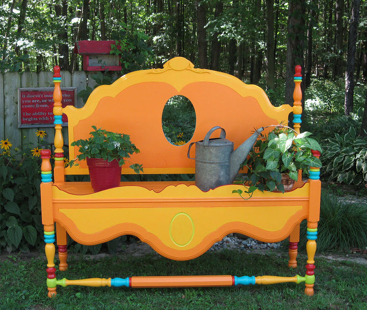 garden bench, gardening, painting, repurposing upcycling, This is the finished bench The colors remind me of a gypsy wagon I toiled over the colors for a year and finally was inspired by the color on a plastic tumbler I took it to the lumber yard and they matched the color