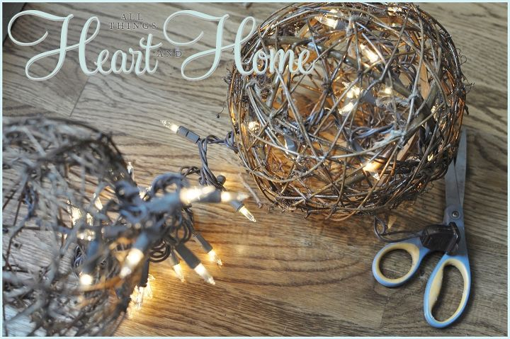 I threaded the lights into the balls and tied them in place with garden twine to make sure the glow was uniform...