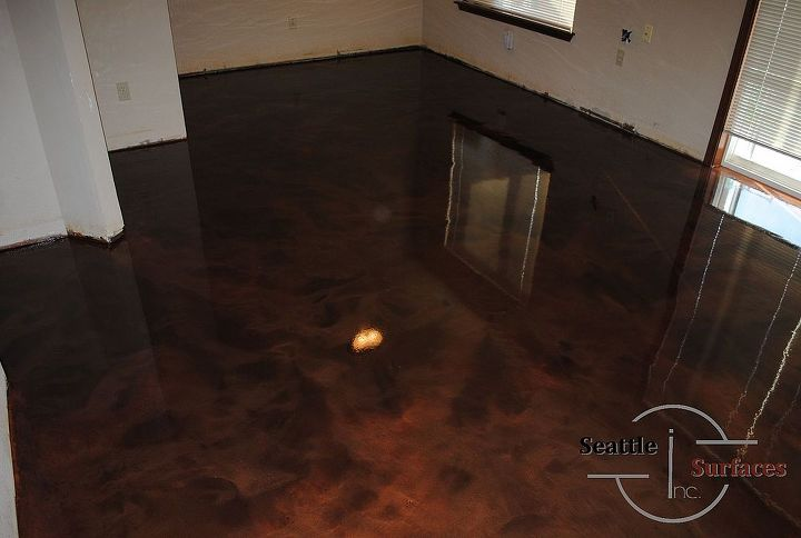 Metallic epoxy basement floor.