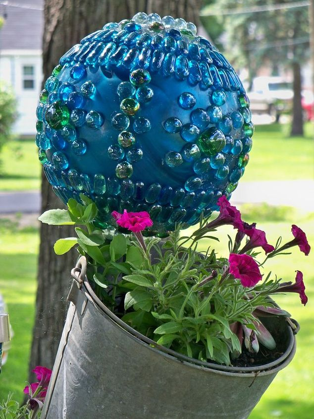 a bowling ball to top off my tipsy pots, crafts, gardening, repurposing upcycling