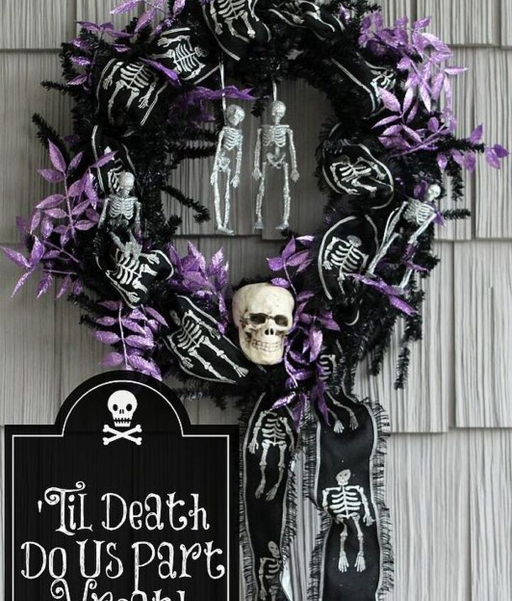 Spooky Purple and Black Halloween Skeleton and Skull Wreath. Embellished with Glitter and embroidered ribbon