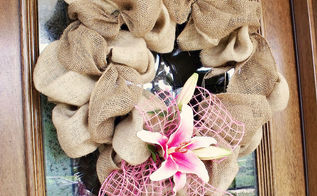 wreaths for every season, christmas decorations, crafts, doors, halloween decorations, seasonal holiday decor, wreaths, Burlap Bubble wreath for spring decorated with lilies and mesh ribbon