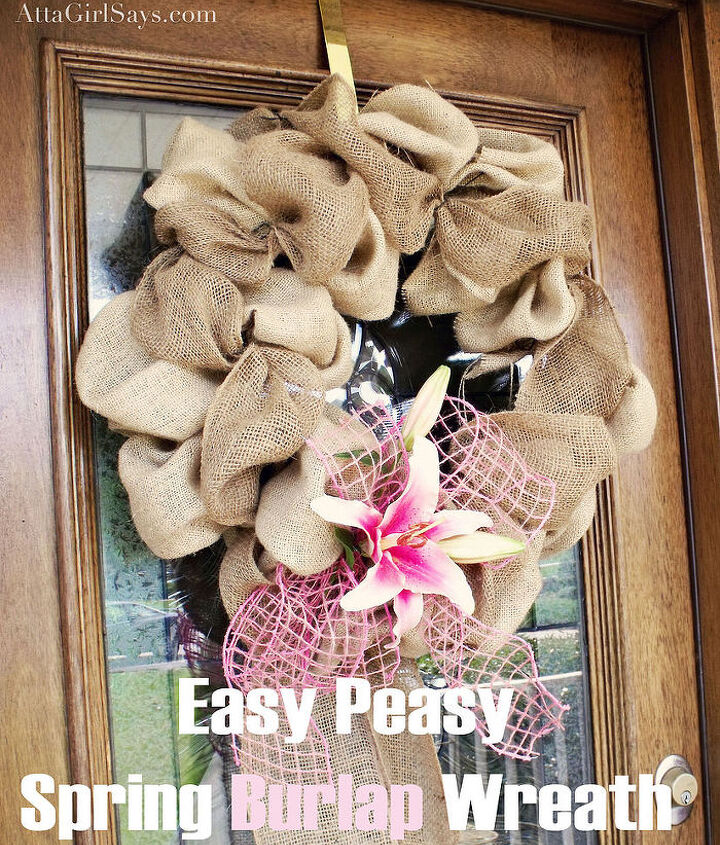 Burlap Bubble wreath for spring, decorated with lilies and mesh ribbon