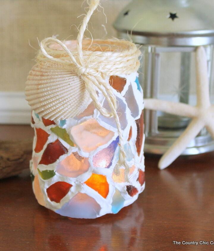 sea glass mason jar, crafts, mason jars