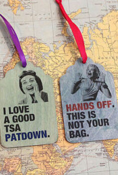 retro wood luggage tags, crafts, These wood luggage tags were decorated with Rit Dye and Craft Attitude printable film