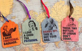 Retro Wood Luggage Tags