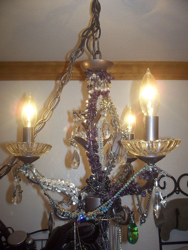 my updated upcycled jewelry chandilier, electrical, home decor, lighting, repurposing upcycling, All done with all the extra bling