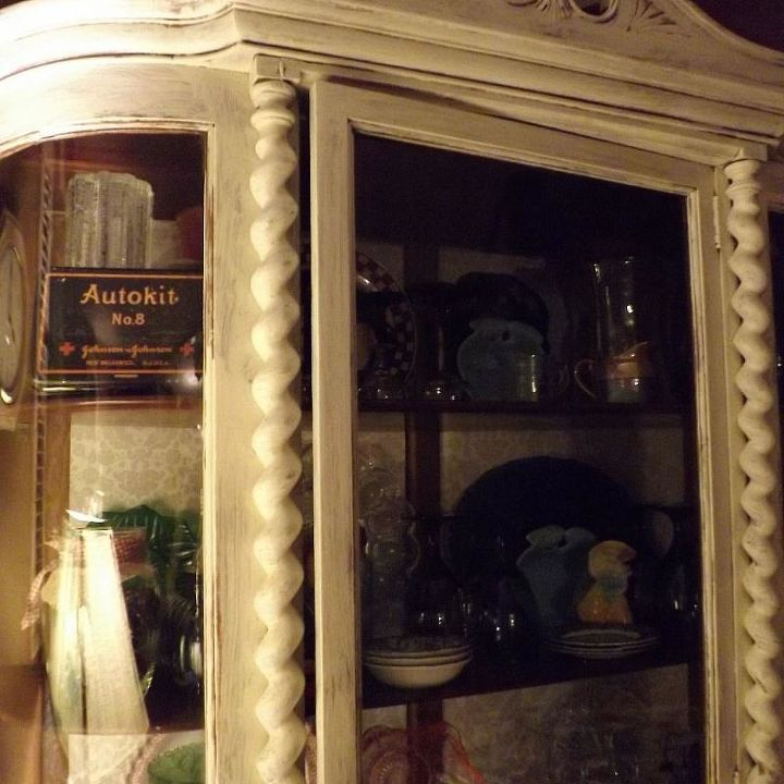 a huge vintage china cabinet, painted furniture