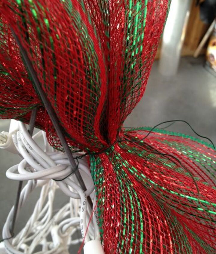 tomato cage christmas trees, christmas decorations, seasonal holiday decor, Leave long tails on the wire when you attach your lights to attach your decor mesh