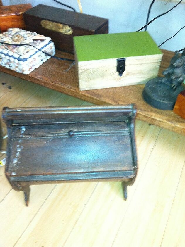 i have some really neat boxes, home decor, old sewing box The oak file box is not shown