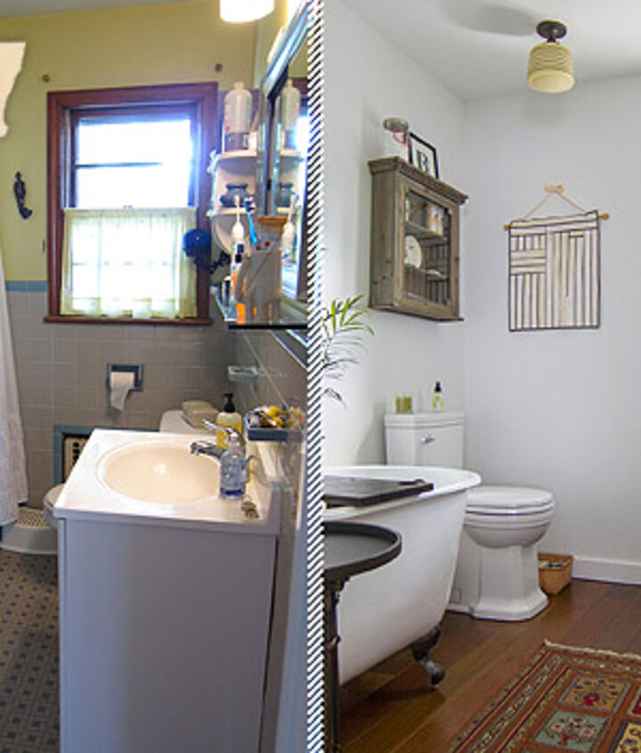 Great before and after shots of a small bathroom. Looks bigger, cleaner and brighter.
