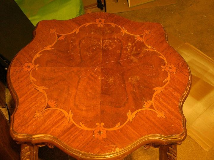 refinished 1 of 2 inlaid pieces, painted furniture, Before