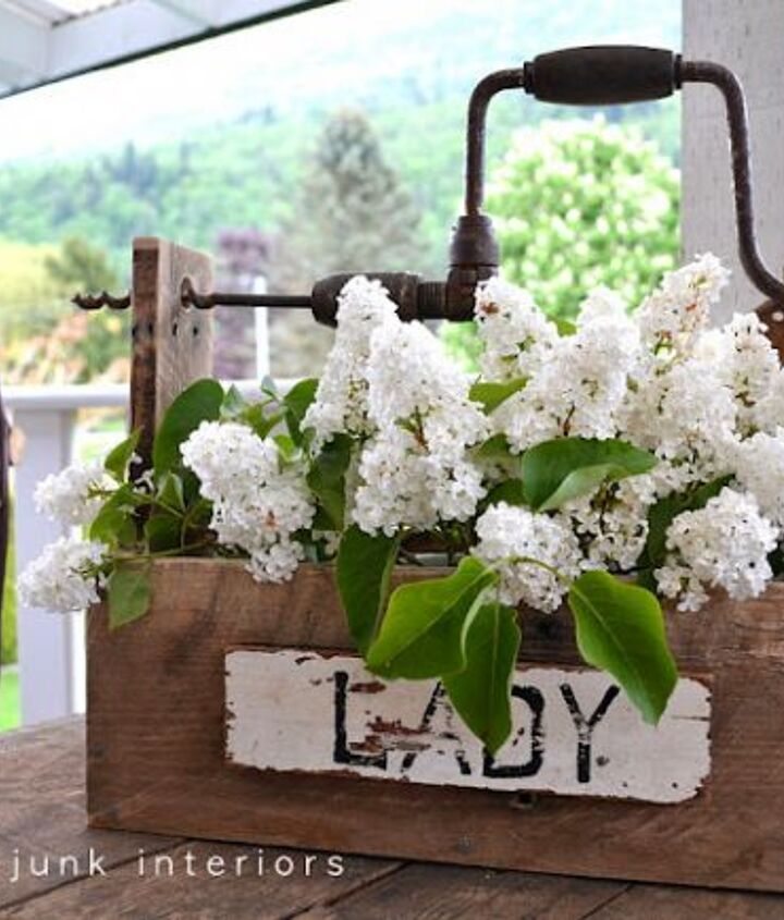 This drill handled toolbox is perfect for fresh cut flowers from the garden. http://www.funkyjunkinteriors.net/2011/05/junk-style-one-board-tool-box-build.html