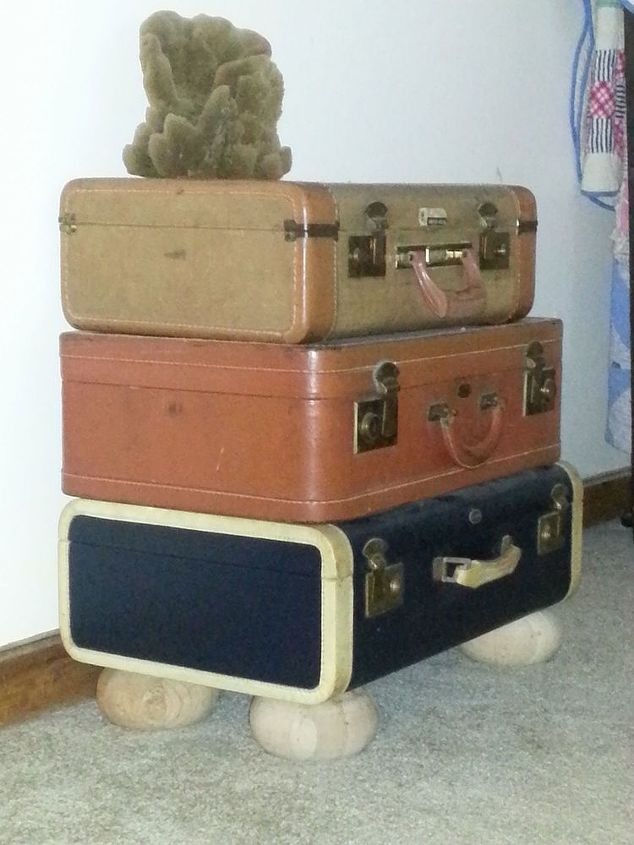 suitcase table, painted furniture, repurposing upcycling