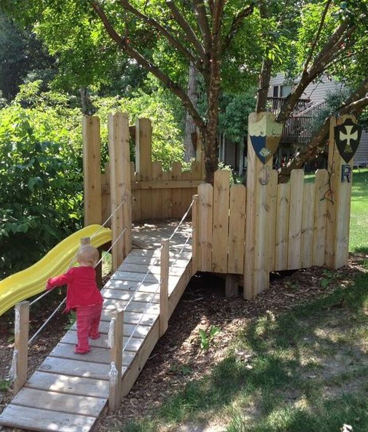 Finished product with slide, ramp and hammock.