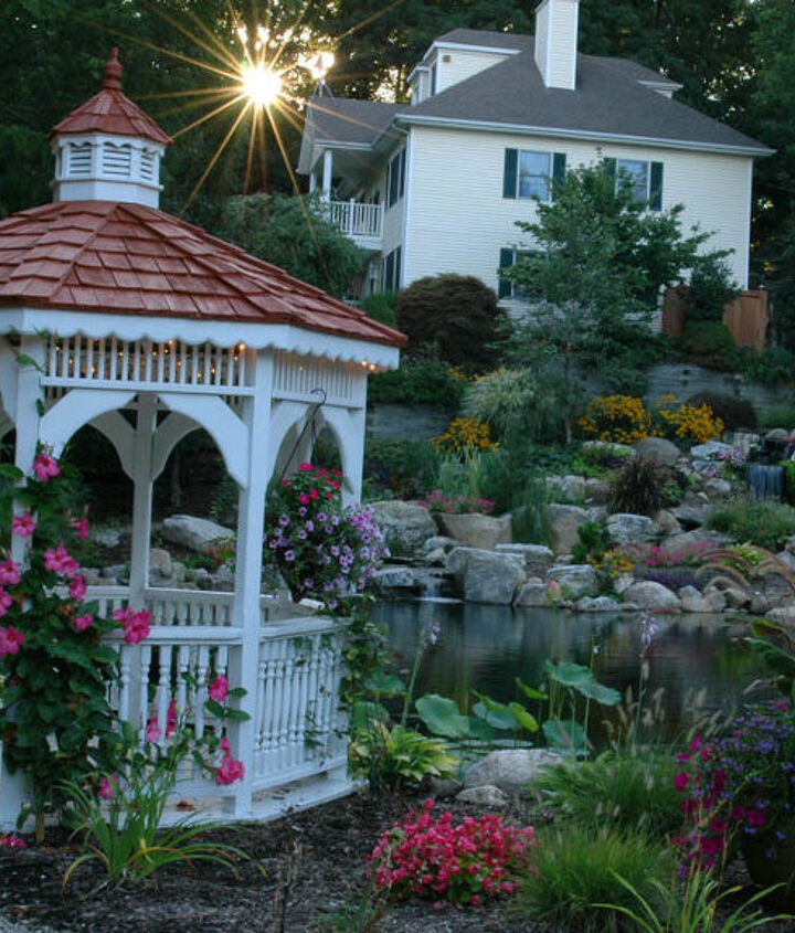 The gazebo enjoys a great view of the pond and waterfall.