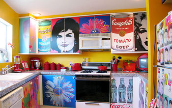 Decoupage Kitchen Cabinets With Andy Warhol Posters