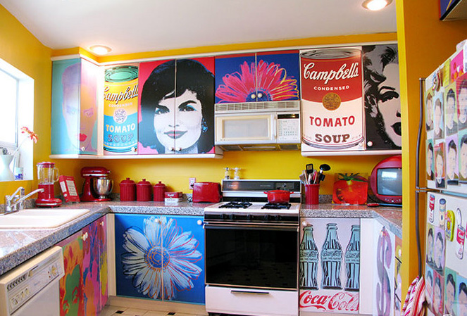 Decoupage Kitchen Cabinets With Andy Warhol Posters   Hometalk