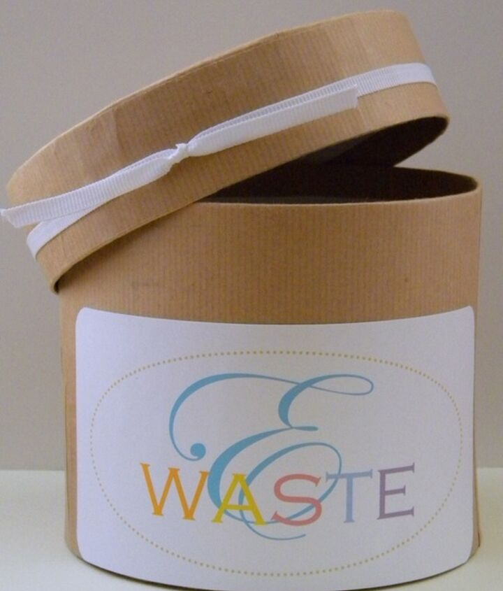 I simple bin to collect our household e-waste until it can be dropped off at an e-waste center.