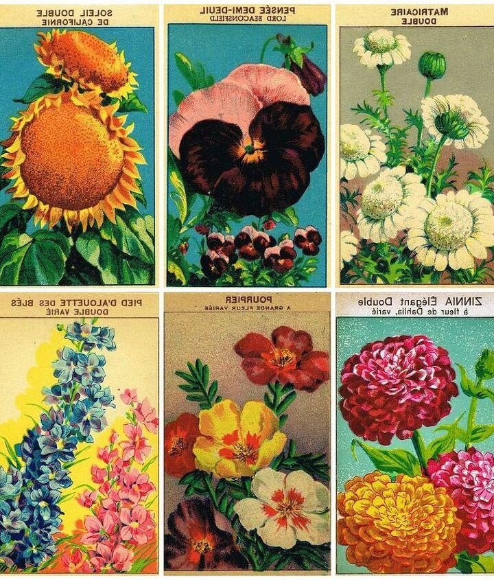 printable vintage seed packet banner, gardening