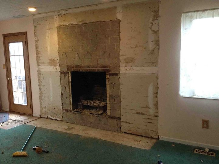 The wall with no bricks. We will convert the fireplace to gas in the fall.
