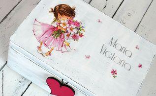 decoupaged pretty little girl box with chalkboard heart, chalkboard paint, crafts, decoupage