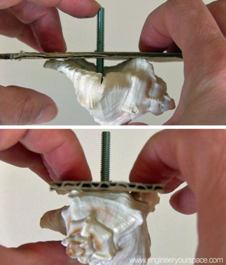 Place the cardboard with the bolt inside the shell and let dry