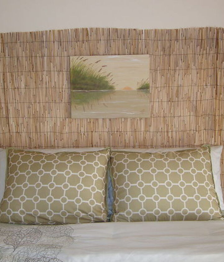 """""""Beachy"""" headboard...  Total cost... $20.00 and about 30 minutes time."""