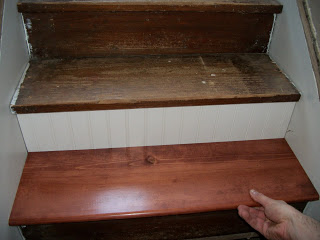 We applied beadboard to the risers.