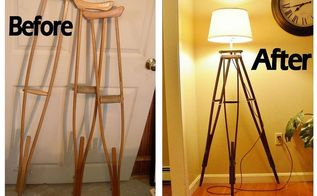 crutches upcycled into tripod lamp, home decor, lighting, repurposing upcycling