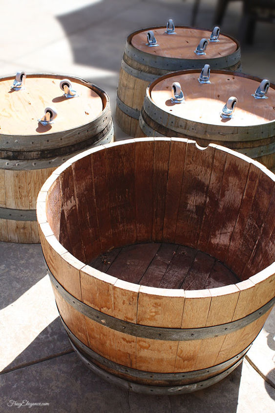 diy half wine barrel beverage tub adding wheels, diy, painted furniture, repurposing upcycling