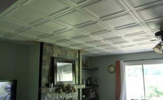 good bye popcorn ceiling, tiling