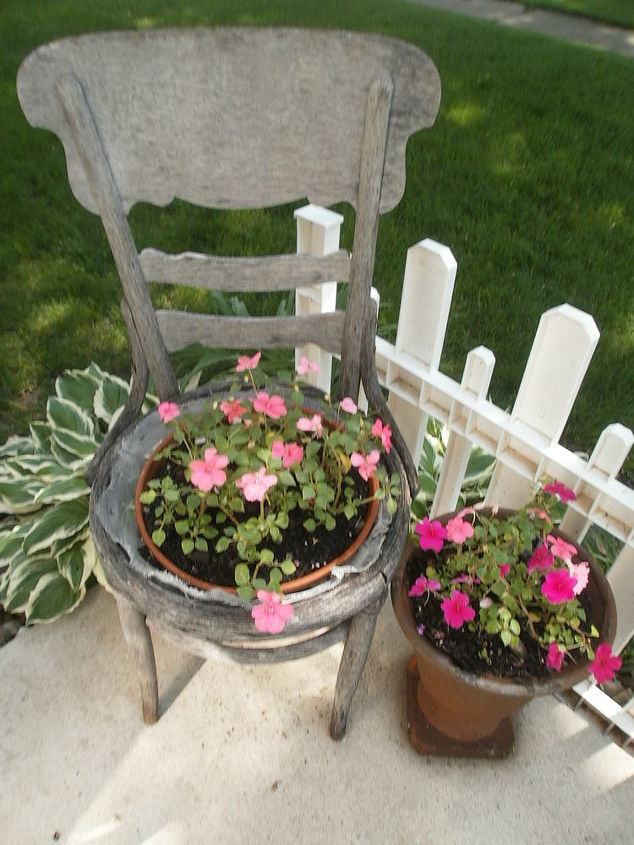 Old chair makes an wonderful planter