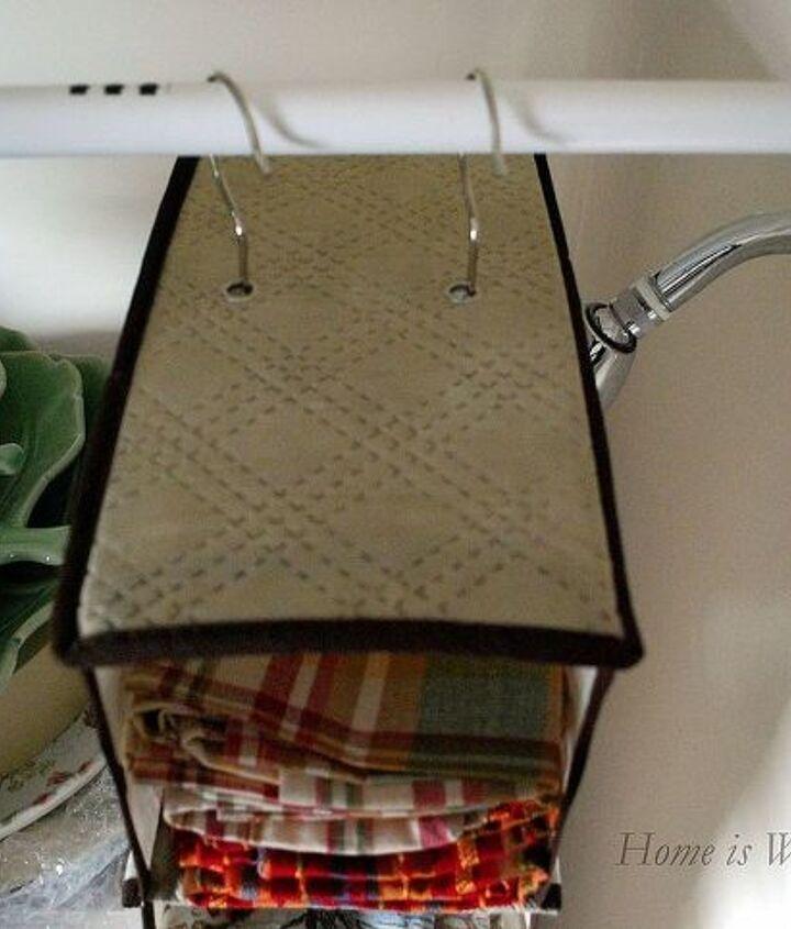 repurposed shower for dish storage, storage ideas
