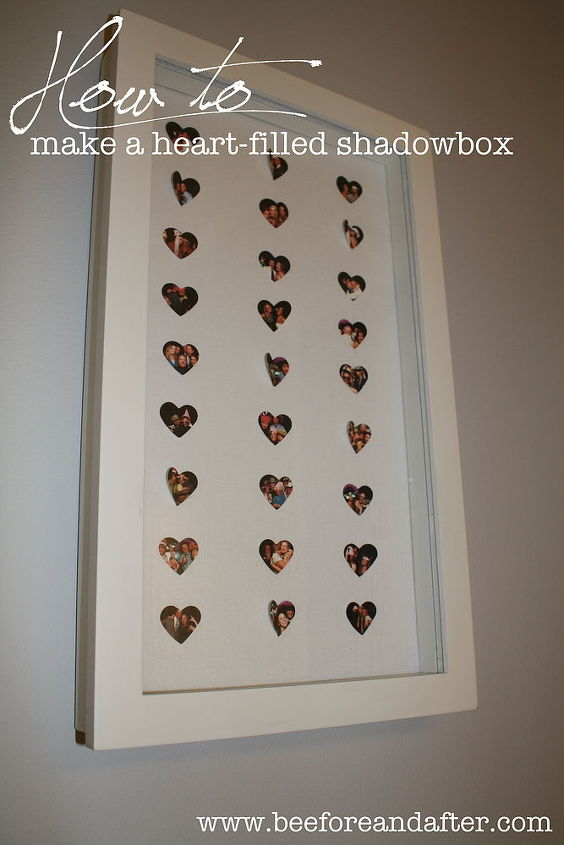 heart filled shadowbox, crafts, home decor