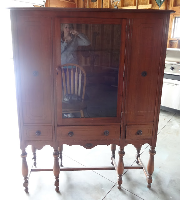 refinished depression era hutch, painted furniture, Before