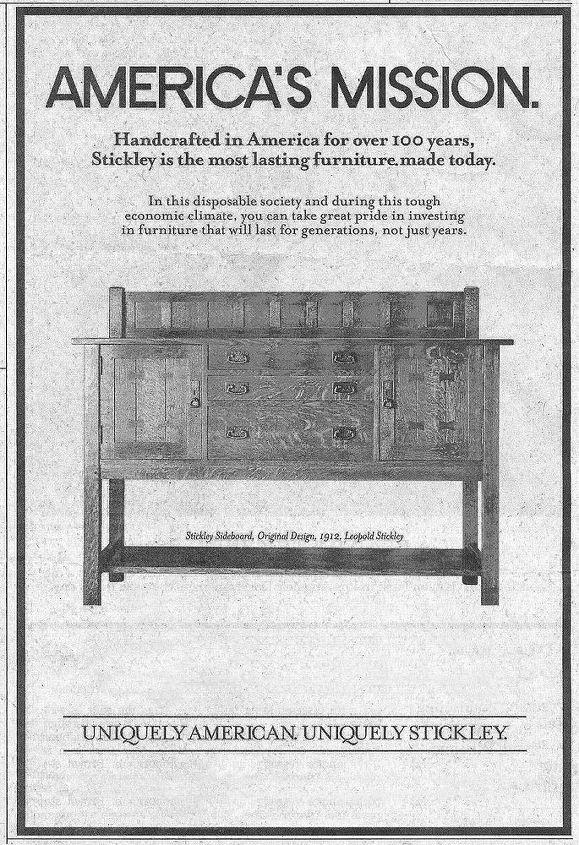 Stickley sideboard advertisement