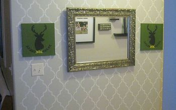 quick and simple stenciled wall, foyer, painting, wall decor, A simple morrocan style stencil and some DIY art made this wall something to really look at