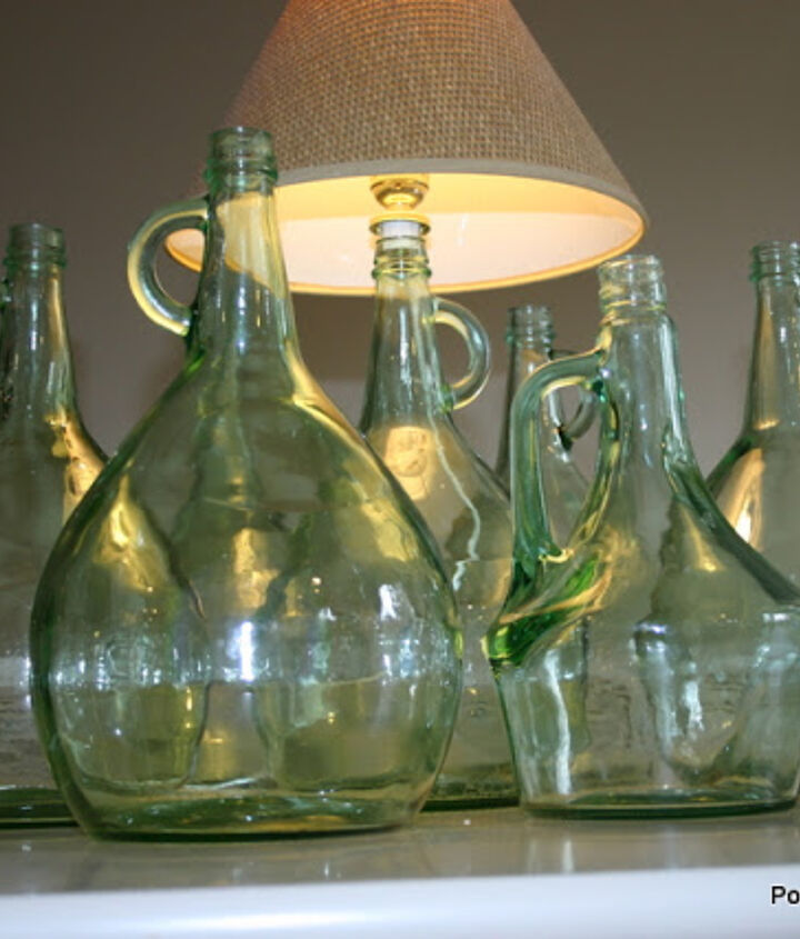 A simple lamp kit transforms these beautiful bottles into a lamps.