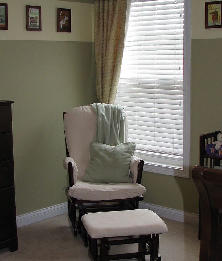 The nursery before the makeover was outdated and gender neutral.