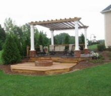arbor deck with landscape, decks, landscape, lawn care, outdoor living